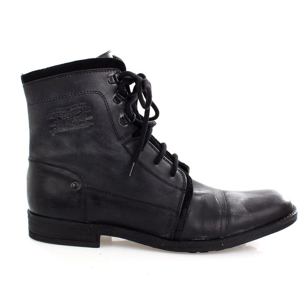 Pánske čierne kožené šnúrovacie topánky Levis  7ec7be33b20