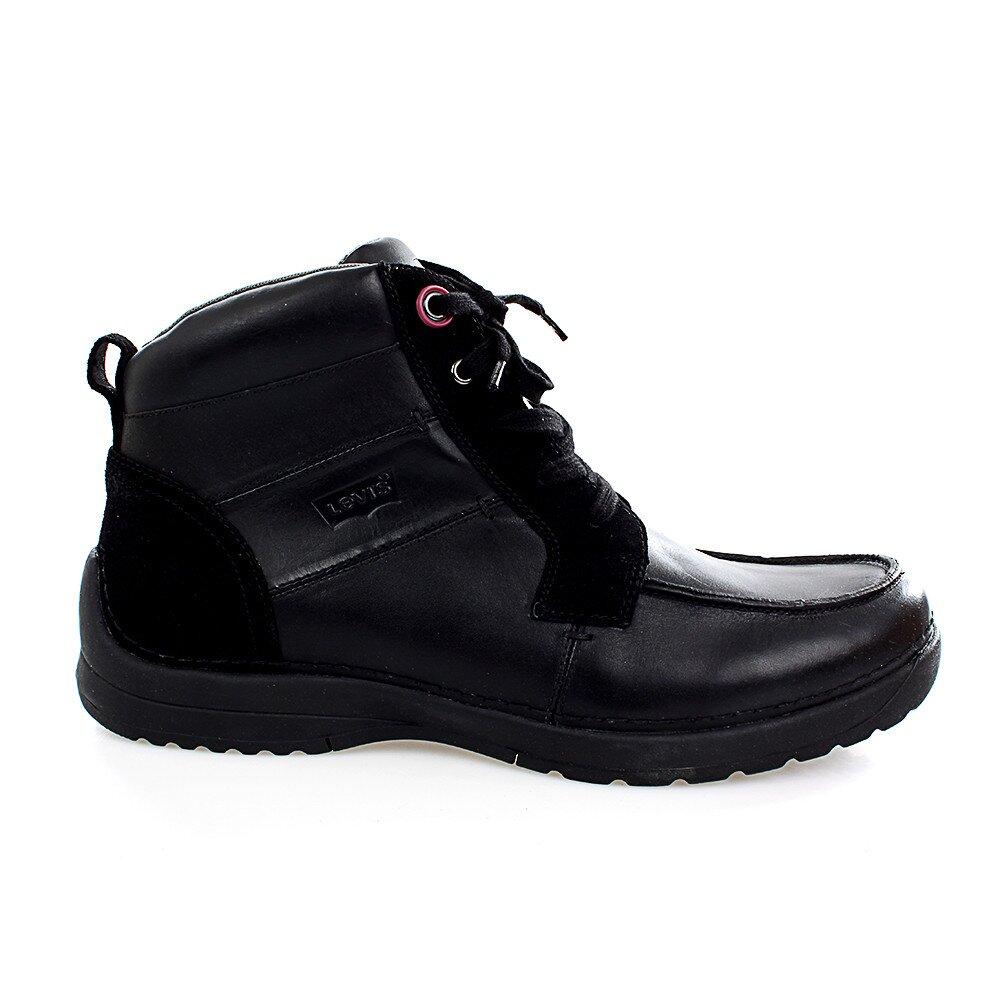 Pánske čierne kožené členkové topánky Levis  150780f9178