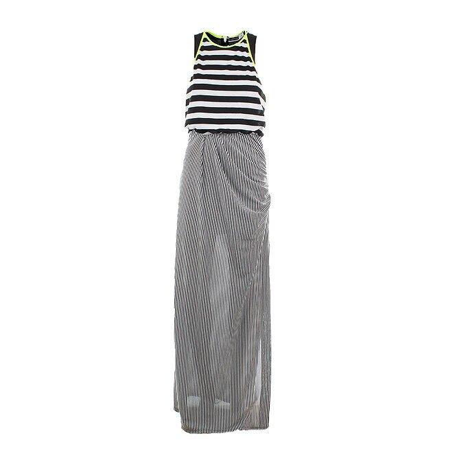 387283972839 Dámske dlhé čierno-biele pruhované šaty Max Mara