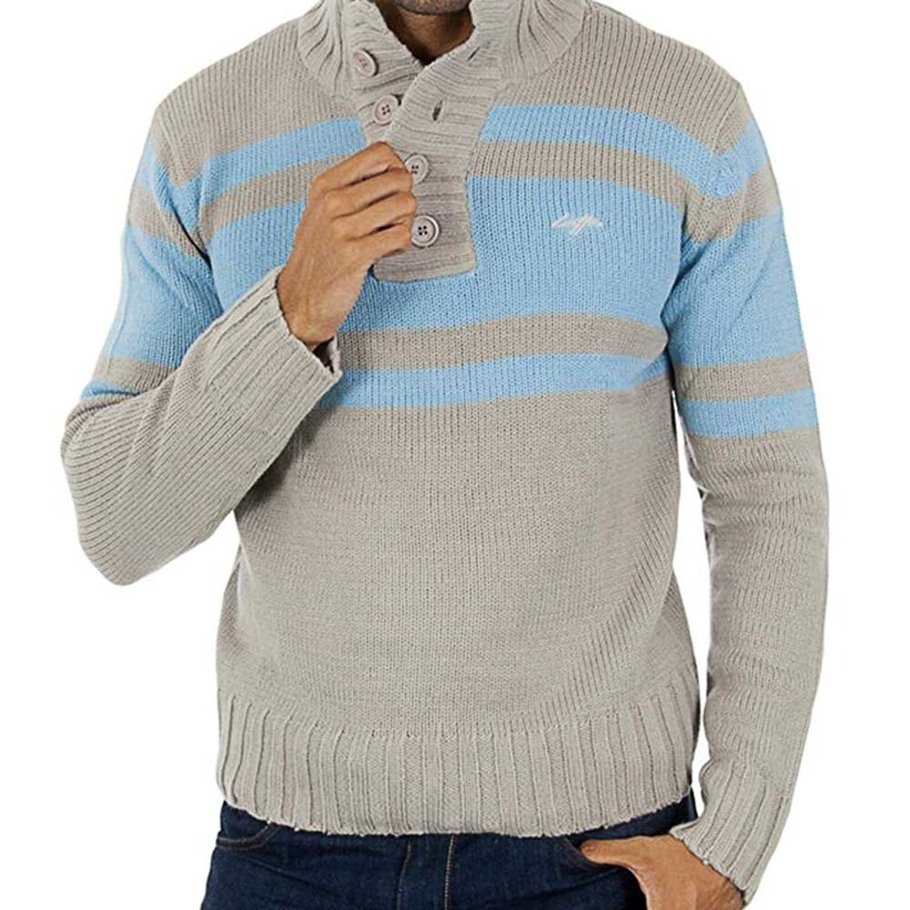 00d8834b75b9 Pánsky šedý sveter s modrými pruhmi Lotto