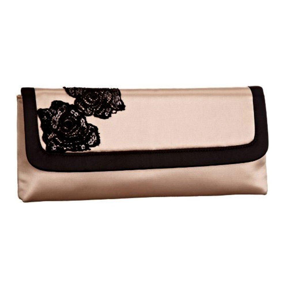 f3ee2e7588d6 Dámska ružovo-čierna listová kabelka s flitrovými kvietkami Menbur ...