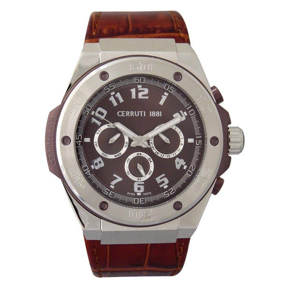 Pánske hnedé oceľové hodinky s chronografom Cerruti 1881  454418533a2