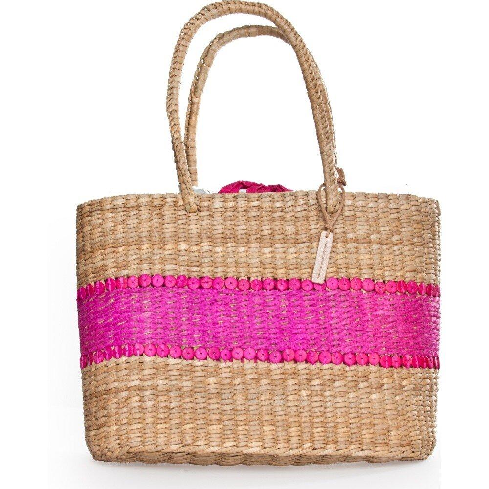 8f0415e37c Letná dámska slamená taška Benetton s ružovým pruhom