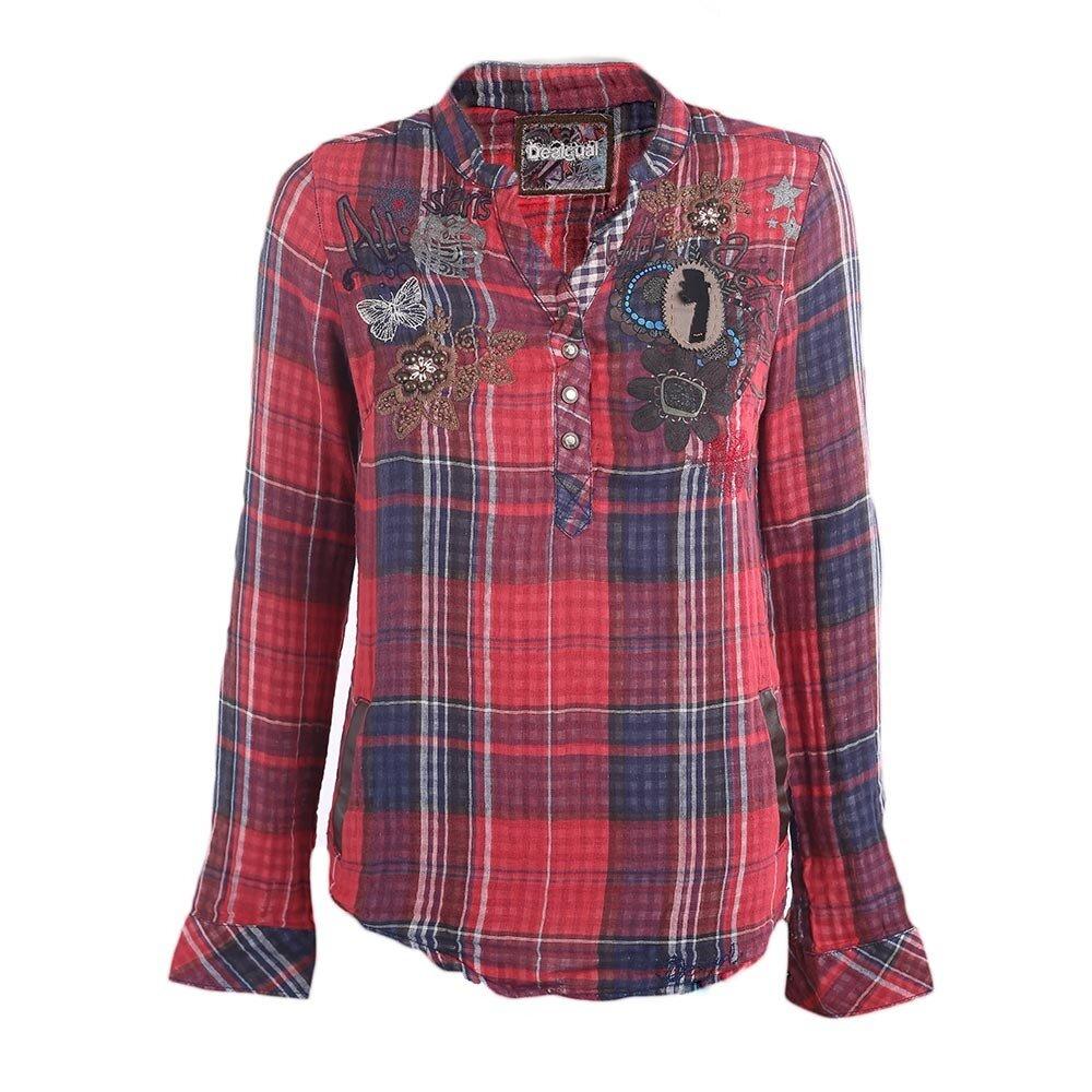 4ab0e1e866e5 Dámska červeno-modrá kockovaná košeľa s aplikáciami Desigual ...