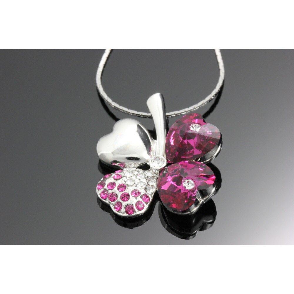 Dámsky ružový náhrdelník so štvorlístkom Swarovski  e445ce6231b