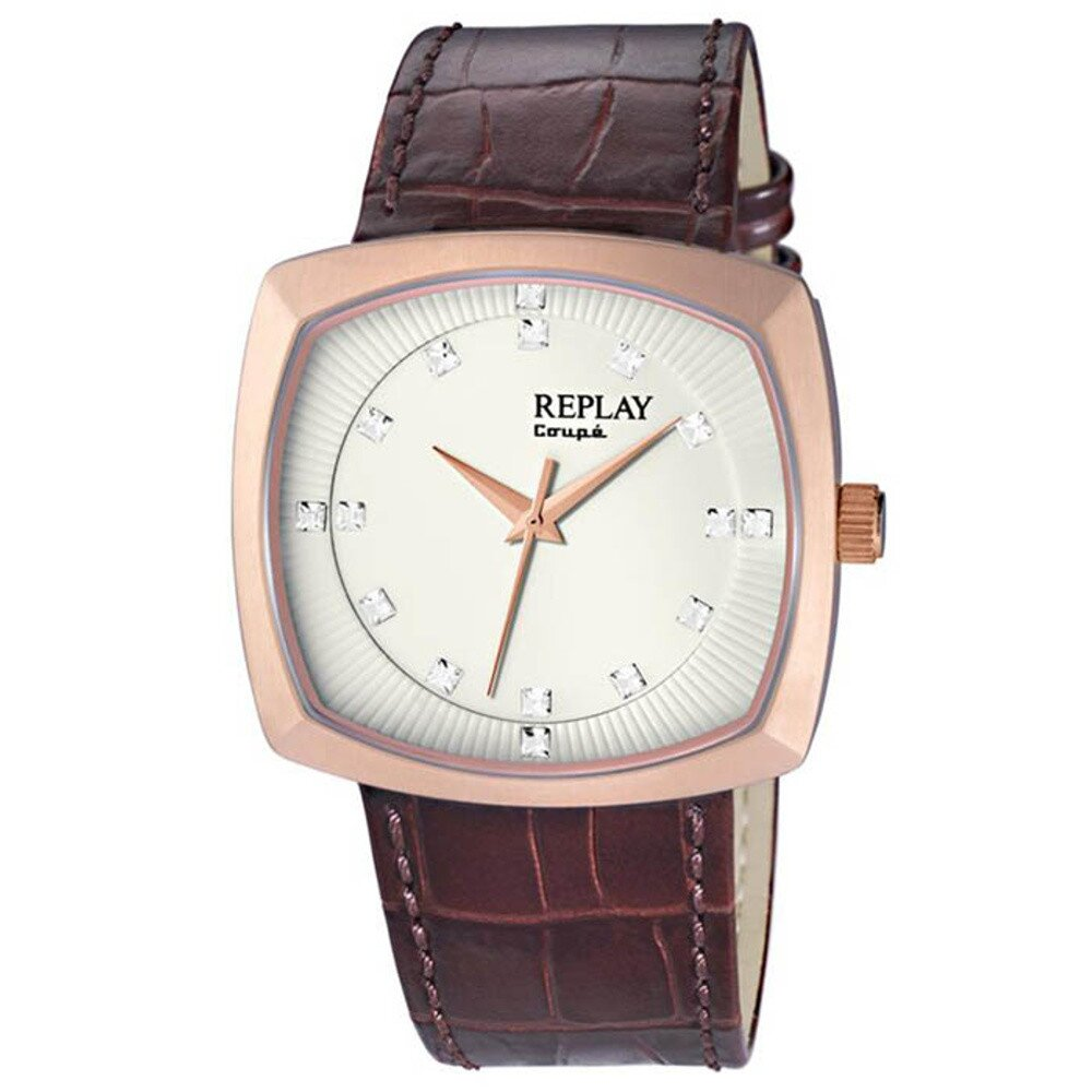 Pánske hranaté hodinky Replay vo farbe ružového zlata  44379d9199a