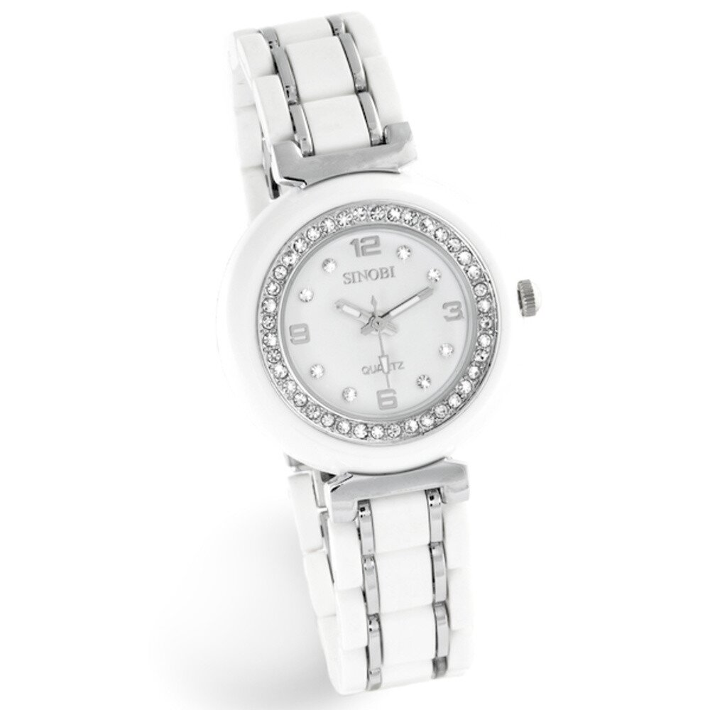 Dámske strieborno-biele hodinky so zirkónmi Sinobi  ddd2a969a92