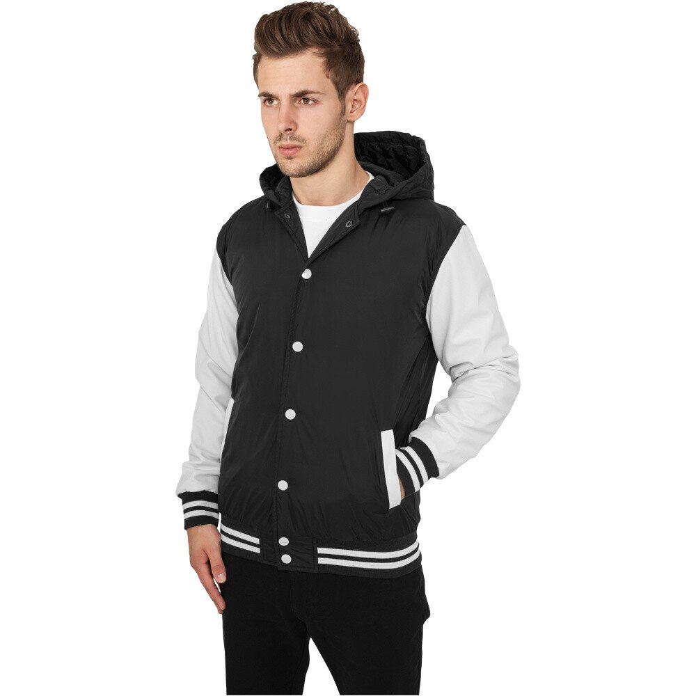 Pánska čierno-biela college bunda s kapucňou Urban Classics ... ecde92960c4