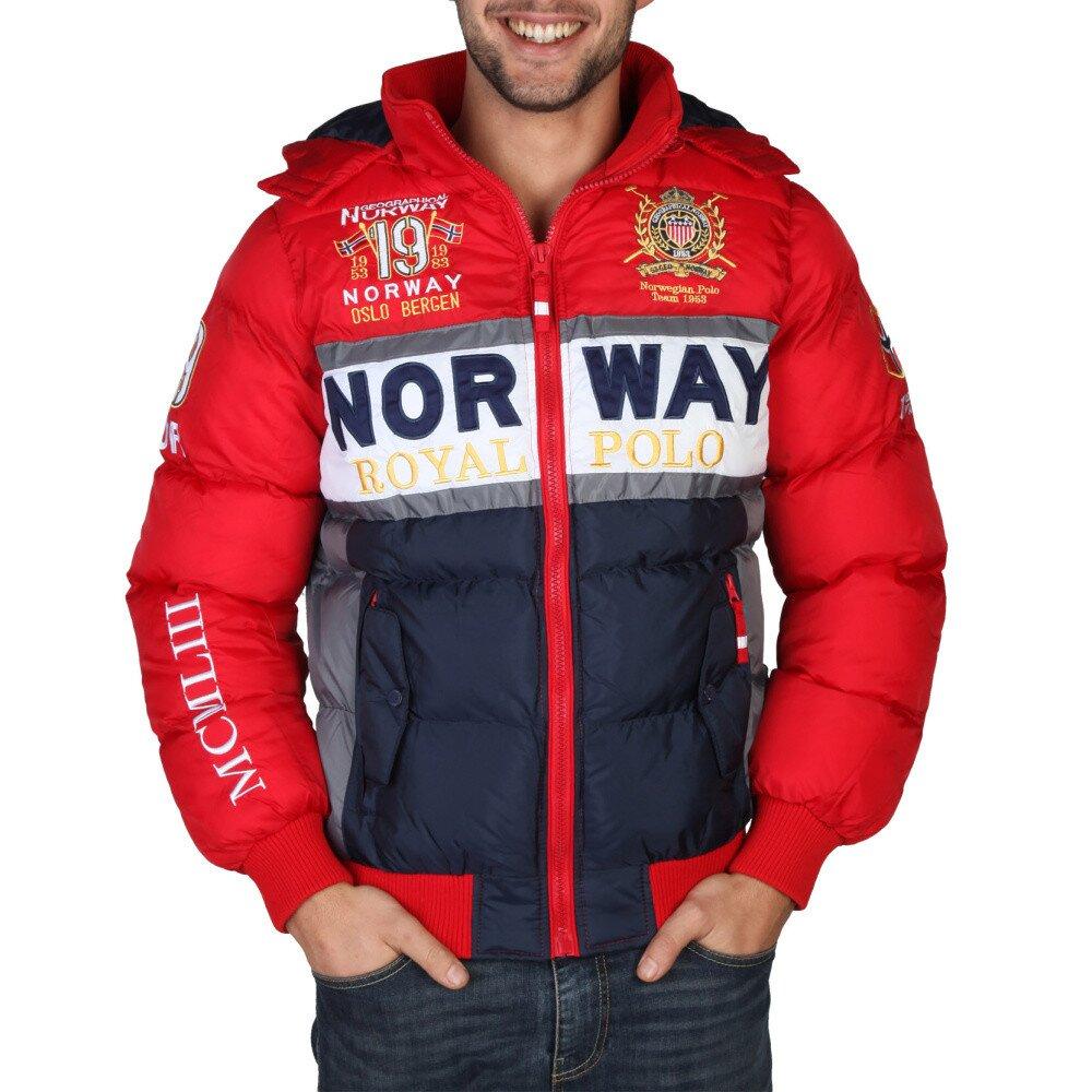Pánska červená zimná bunda s výšivkami Geographical Norway  e383b4074bc