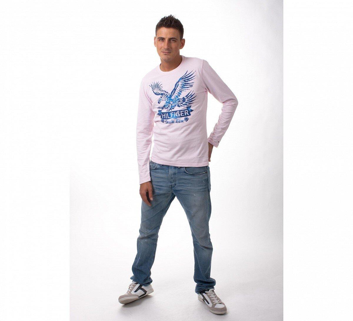 Pánske svetlo ružové tričko Tommy Hilfiger s orlicou  de3b96e6a6d