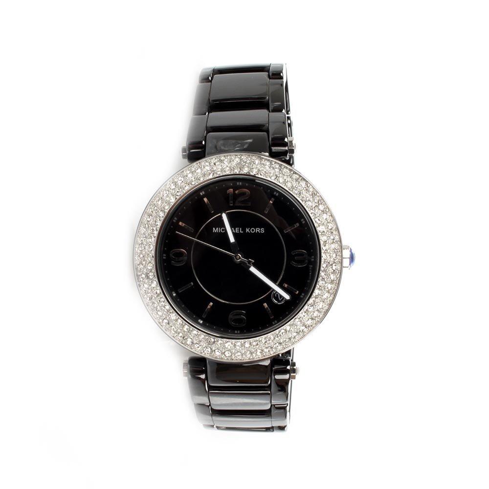 Dámske čierne keramické hodinky Michael Kors s kryštáľmi eaf19282ad4