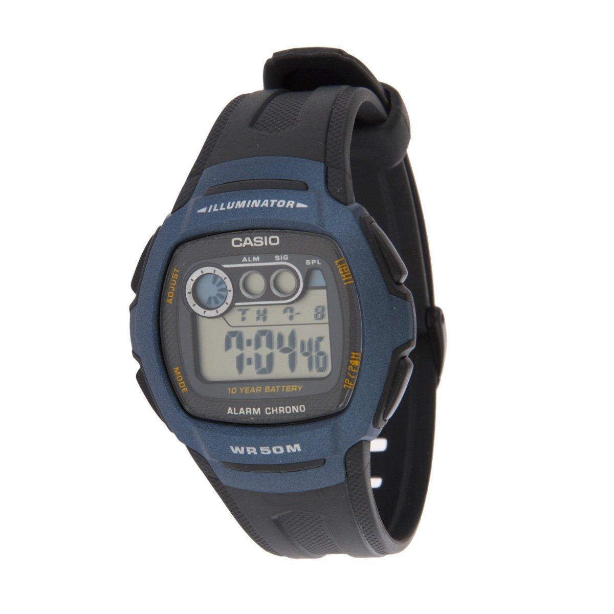 Pánske modro-čierne digitálne hodinky Casio s čiernym pryžovým remienkom  599971a9361