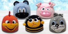 Detské fleecové čiapky Mess s motívmi zvieratiek