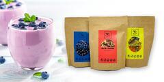 Smoothie prášky: čučoriedka & čierna ríbezľa, ananás & rakytník alebo topinambur