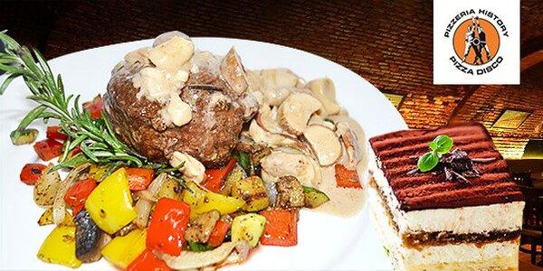 Hovädzí steak z pravej sviečkovice s predjedlom a tiramisu v Trnave