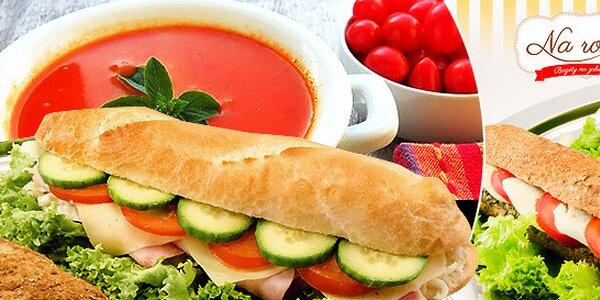 Veľká bageta s polievkou alebo nápojom