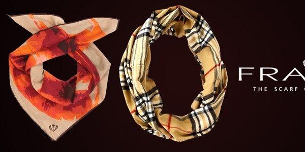 Jeseň v teple s farebnými šatkami a šálmi Fraas