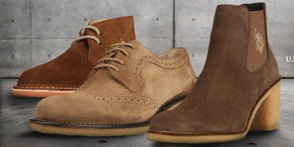 Štýlové semišové a kožené topánky U.S. Polo