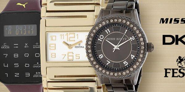 Štýlové hodinky obľúbených značiek DKNY, Puma, Esprit, Miss Sixty a ďalších