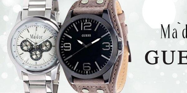 Štýlové pánske hodinky značiek Ma'dor a Guess