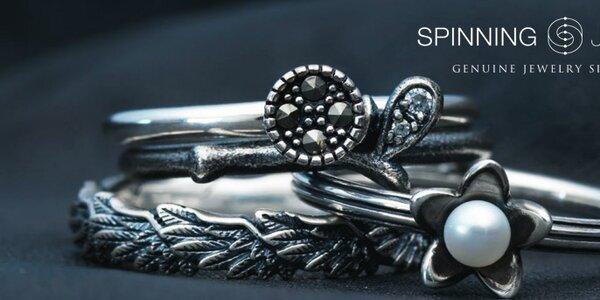 Dámske strieborné prstienky a náušnice Spinning