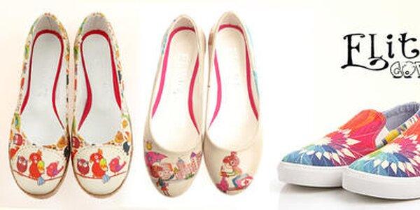 Originálne dámske topánky s hravými potlačami Elite Goby