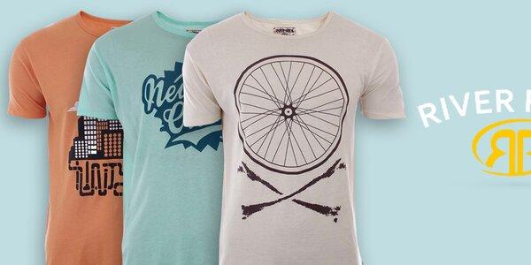 Pánske bavlnené tričká s potlačami River Rock