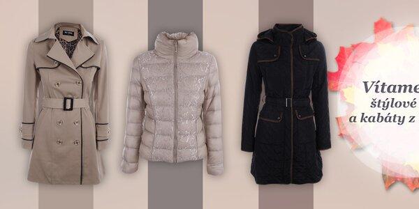 Štýlové dámske bundy a kabáty na zahriatie