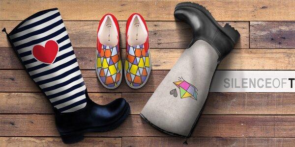 Farebné dámske topánky plné vzorov The Bees