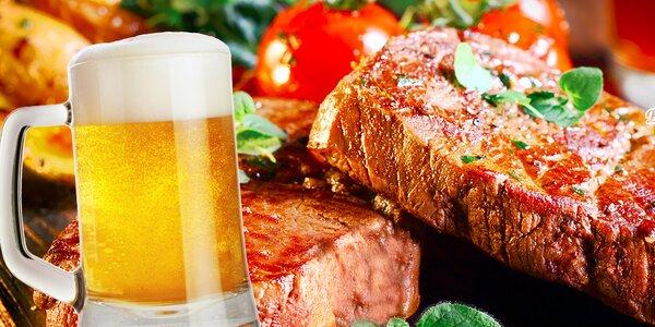 Steak z hovädzej sviečkovice a pivo