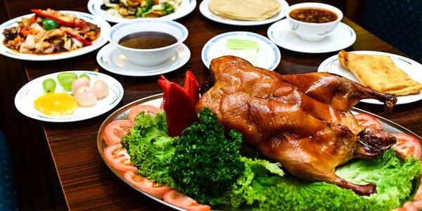 3-chodové menu s pekingskou kačicou, ôsmimi drahocennosťami a budhistickým…
