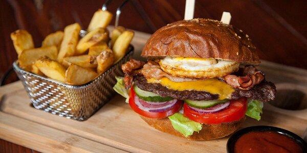 XL Burger Bacon & Egg alebo Burger Jalapenos s hranolčekmi