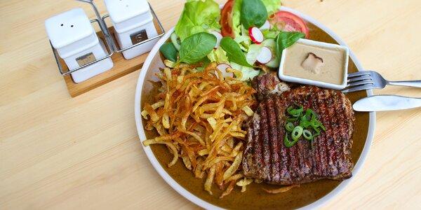 Bravčový alebo hovädzí steak s prílohou a dezertom