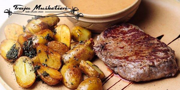 Steak z pravej argentínskej sviečkovice s pečenými zemiakmi a omáčkou