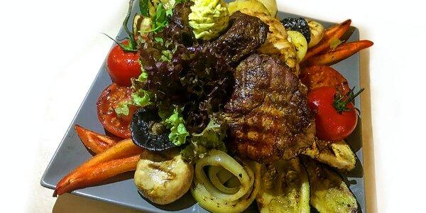Mix grilovaných steakov a dezert pre dvoch
