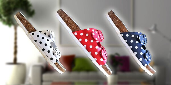 Dámské papuče s potlačou milých bodiek