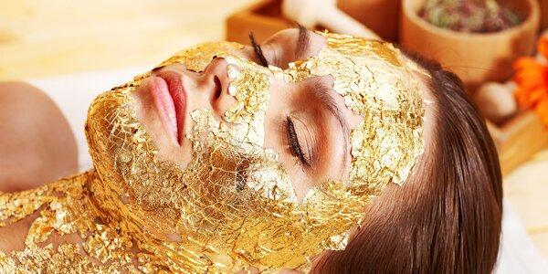 Zlatý lifting krku a dekoltu kyselinou hyalurónovou a čiastočkami zlata