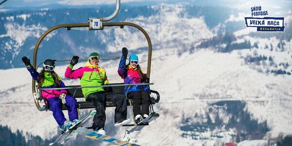 3-dňový skipas pre 1 osobu v Snowparadise Veľká Rača Oščadnica