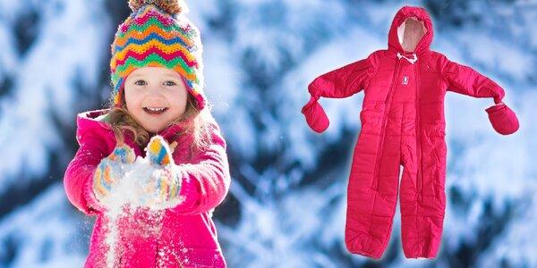 Detský teplý overal v ružovej farbe