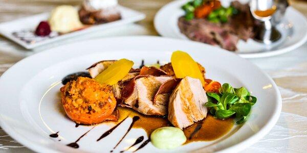 Trojchodové menu: roast beef, saltimbocca a suflé