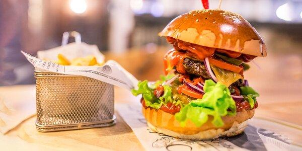 Double mucho jalapeño burger + hranolčeky