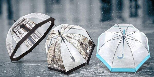 Veľký transparentný vystreľovací dáždnik