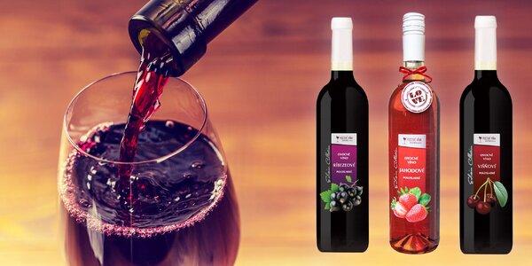 Jahodové, ríbezľové a višňové vína - 6 fliaš v balení