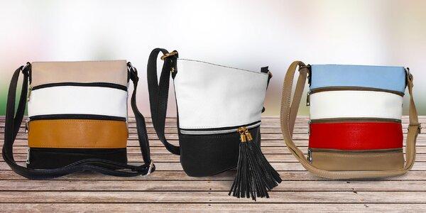 Crossbody kabelky s rôznofarebnými pruhmi