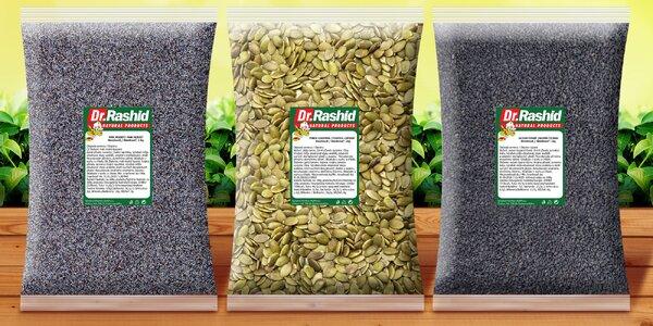 Cenné dary prírody: semiačka maku, sezamu i dyne
