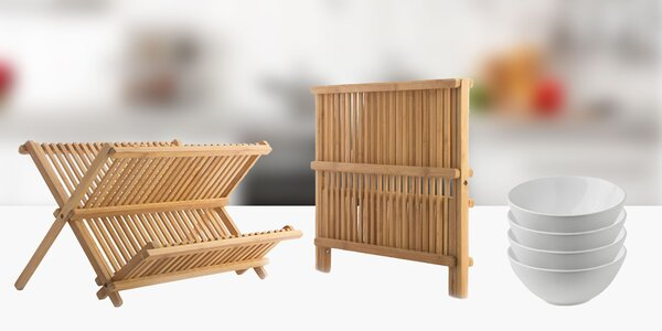 Bambusový odkvapkávač na riad