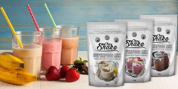 Bezlepkové koktejly Chia Shake plné vitamínov