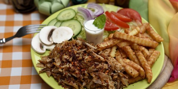 Kurací kebab v placke či s hranolčekmi