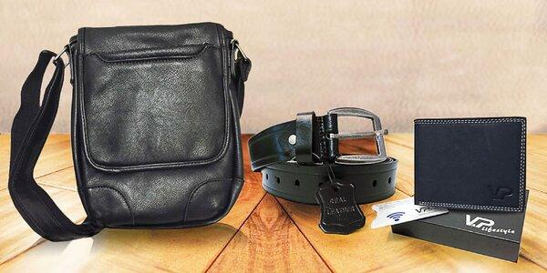 Kožený set pre elegánov: Kožená peňaženka, opasok a taška