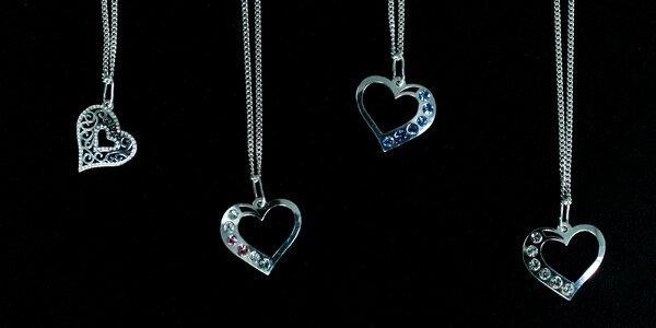 Strieborný náhrdelník Heart Crystal aj s retiazkou